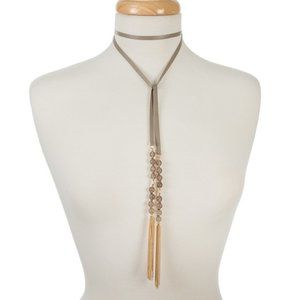 Gray leather wrap necklace with gray beading